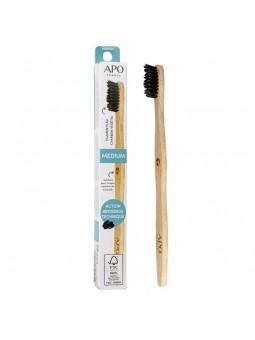 Brosse à dents en bambou pour adulte médium APO France
