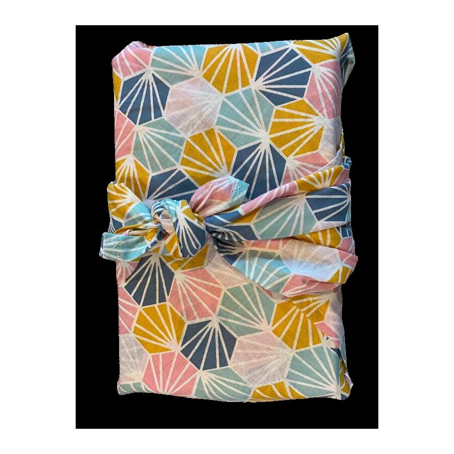 Furoshiki origami multicolore en coton Bio Grenadine verte
